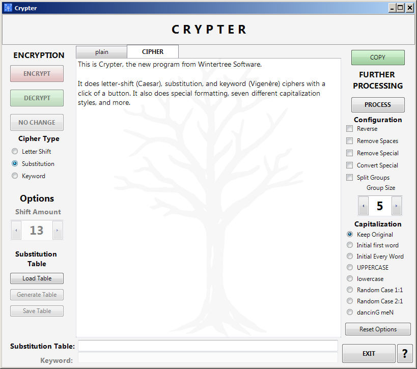 Crypter main screen